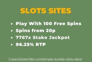 """Featured image for the temple tumble slots sites review showing the game's logo and the text: """"Play with 100 free spins,spins from 20p,7767x stake jackpot,96.25% RTP."""""""