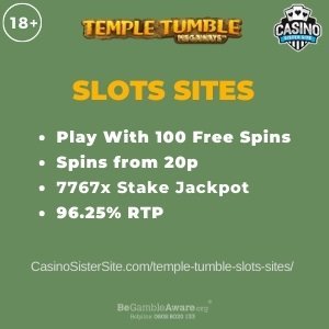 "Featured image for the temple tumble slots sites review showing the game's logo and the text: ""Play with 100 free spins,spins from 20p,7767x stake jackpot,96.25% RTP."""