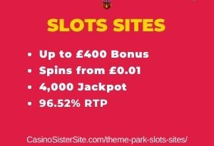 """Featured image for the theme park slots sites review showing the game's logo and the text: """"Up to £400 bonus,spins from £0.01, 4,000 jackpot,96.52% RTP."""""""