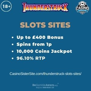 """Featured image for the thunderstruck slots sites review showing the game's logo and the text: """"Up to £400 bonus,spins from 1p,10,000 coins jackpot,96.10% RTP."""""""