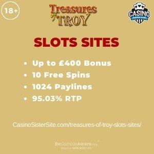 """Featured image for the treasures of troy slots sites review showing the game's logo and the text: """"Up to £400 bonus,10 free spins,1024 paylines,95.03% RTP."""""""