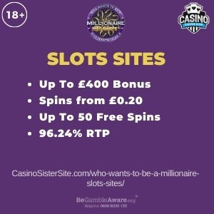 """Featured image for the who wants to be a millionaire slots sites review showing the game's logo and the text: """"Up to £400 bonus,spins from £0.20,up to 50 free spins,96.24% RTP."""""""
