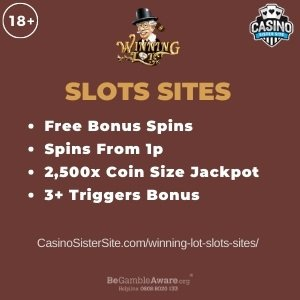 """Featured image for the winning lot slots sites review showing the game's logo and the text: """"Free bonus spins,spins from 1p,2,500x coin size jackpot,bonus games."""""""