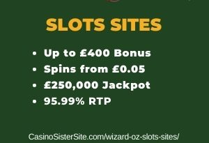 """Featured image for the wizard oz slots sites review showing the game's logo and the text: """"Up to £400 bonus,spins from £0.05,£250,000 jackpot,95.99% RTP."""""""