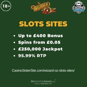 "Featured image for the wizard oz slots sites review showing the game's logo and the text: ""Up to £400 bonus,spins from £0.05,£250,000 jackpot,95.99% RTP."""