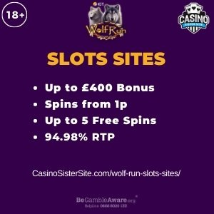 """Featured image for the wolf run slots sites review showing the game's logo and the text: """"Up to £400 bonus,spins from 1p,up to 5 free spins,94.98% RTP."""""""