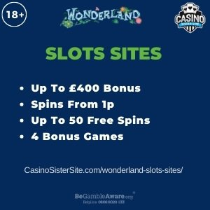"""Featured image for the wonderland slots sites review showing the game's logo and the text: """"Up to £400 bonus,spins from 1p,up to 50 free spins,4 bonus games."""""""