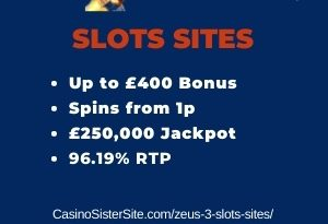 """Featured image for the zeus 3 slots sites review showing the game's logo and the text: """"Up to £400 bonus,spins from 1p,£250,000 jackpot,96.19% RTP."""""""