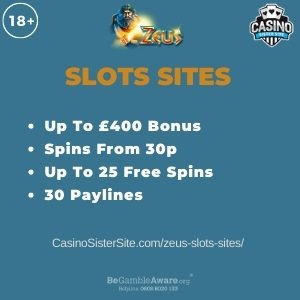 """Featured image for the zeus slots sites review showing the game's logo and the text: """"Up to £400 bonus,spins from 30p,up to 25 free spins,30 paylines."""""""