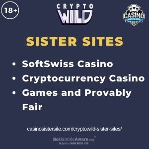 "Banner image for Cryptowild Sister Sites with text ""SoftSwiss Casino. Cryptocurrency Casino. Games and Provably Fair."""
