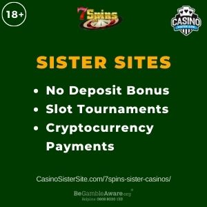 """Banner image for 7Spins sister casinos with text """"No Deposit Bonus. Slot Tournaments. Cryptocurrency Payments."""""""