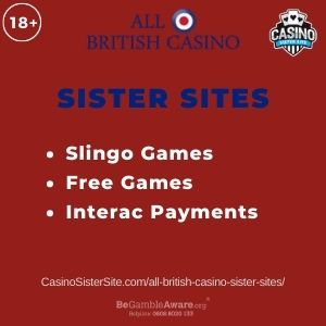 "Banner image for All British Casino sister sites article with text ""Slingo Games. Free Games. Interac Payments."""