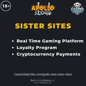 """Banner image for Apollo Slots sister sites article with text """"Real Time Gaming Platform. Loyalty Program. Cryptocurrency Payments."""""""