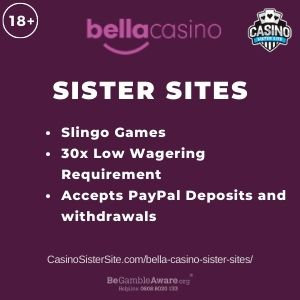 "Banner image for Bella Casino sister sites article with text "" Slingo Games. 30x Low Wagering Requirement. Accepts PayPal Deposits and Withdrawals."