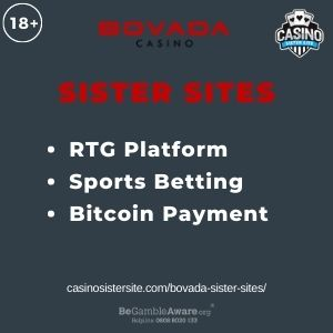 """Banner image for Bovada Sister Sites article with text """"RTG Platform. Sports Betting. Bitcoin Payment"""""""