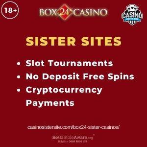 """Banner image for Box 24 Sister Casinos article with text """"Slot Tournaments. No Deposit Free Spins. Cryptocurrency Payments."""