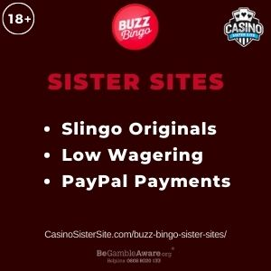 "Banner image for Buzz Bingo sister sites article with text ""Slingo Originals. Low Wagering. PayPal Payments."""