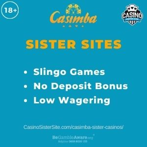 "Banner image for Casimba Sister Casinos article with text ""Slingo Games. No Deposit Bonus. Low Wagering."""