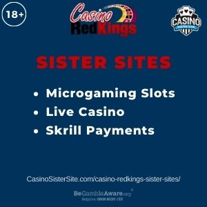 """Banner image for Casino Redkings Sister Sites article with text """"Microgaming Slots. Live Casino. Skrill Payments."""""""