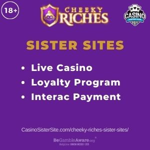"""Banner image for Cheeky Riches sister sites article with text """"Live Casino. Loyalty Program. Interac Payment."""""""