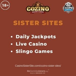 """Banner image Cozino sister sites article with text """"Daily Jackpots. Live Casino. Slingo Games."""""""