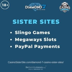 "Banner image for Diamond 7 Casino sister sites article with text ""Slingo Games. Megaways Slots. PayPal Payements."""