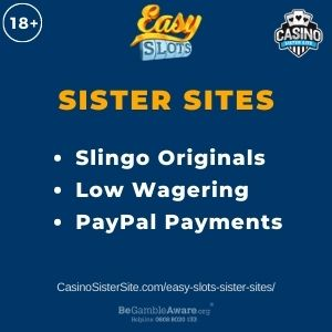 "Banner image for Easy Slots sister sites with text ""Slingo Originals. Low Wagering. PayPal Payments."""