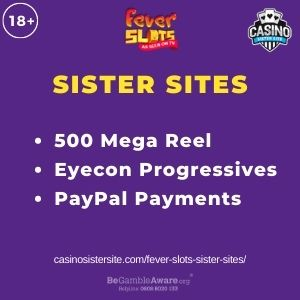 """Banner image for Fever Slots Sister Sites article with text """"500 Mega Reel. Eyecon Progressives. PayPal Payments."""""""