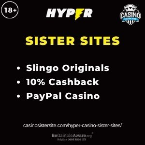 """Banner image for Hyper Casino Sister Sites article with text """"Slingo Originals. 10% Cashback. PayPal Casino."""""""