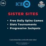 """Banner image for ICE36 sister sites article with text """"Free Daily Spins Games. Slot Tournaments. Progressive Jackpots."""""""