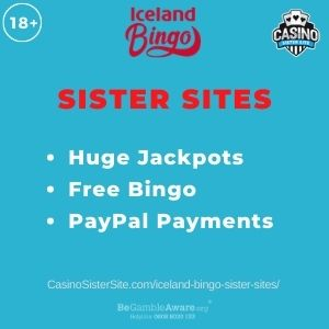 """Banner image for Iceland Bingo sister sites article with text """"Huge Jackpots. Free Bingo. PayPal Payments."""""""