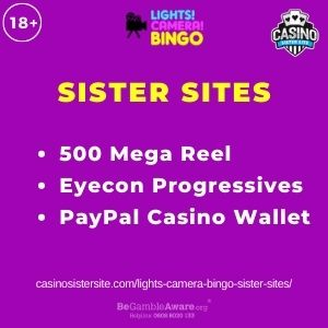 """Banner image for Lights Camera Bingo Sister Sites article with text """"500 Mega Reel. Eyecon Progressives. PayPal Casino Wallet."""""""