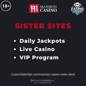 """Banner image for Mansion Casino sister sites article with text """"Daily Jackpots. Live Casino. VIP Program."""""""