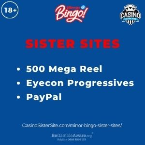 """Banner image for Mirror Bingo Sister Sites article with text """"500 Mega Reel. Eyecon Progressives. PayPal"""""""