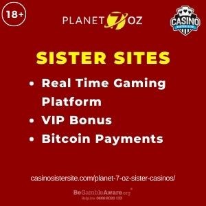 """Banner image for Planet 7 OZ Sister Casinos article with text """"Real Time Gaming Platform. VIP Bonus. Bitcoin Payments."""""""