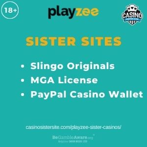 """Banner image for Playzee Sister Casinos article with text """"Slingo Originals. MGA License. PayPal Casino Wallet."""""""