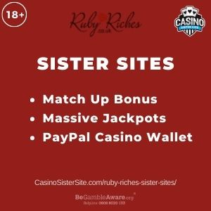 """Banner image for Ruby Riches sister sites article with text """"Match Up Bonus. Massive Jackpots. PayPal Casino Wallet."""""""
