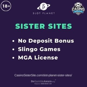 "Banner image for Slot Planet sister sites article with text ""No Deposit Bonus. Slingo Games. MGA License."""