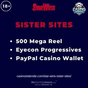 """Banner image for Star Wins Sister Sites article with text """"500 Mega Reel Eyecon Progressives. PayPal Casino Wallet."""""""