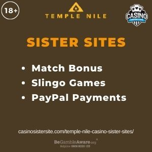 """Banner image for Temple Nile Casino Sister Sites article with text """"Match Bonus. Slingo Games. PayPal Payments."""""""