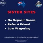 """Banner image for Top 10 Online Australian Casinos article with text """"No Deposit Bonus. Refer A Friend. Low Wagering."""""""