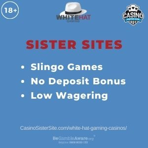 """Banner image for White Hat Gaming Casinos article with text """"Slingo Games. No Deposit Bonus. Low Wagering."""""""