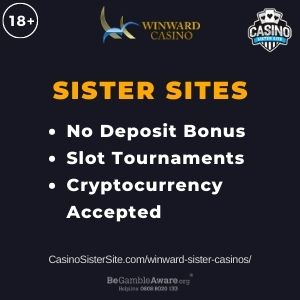 """Banner image for Winward Sister Casinos article with text """"No Deposit Bonus. Slot Tournaments. Cryptocurrency Accepted"""""""