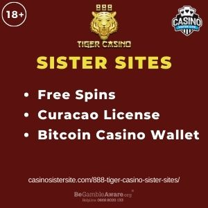 """Feature image for 888 Tiger Casino Sister Sites article with text """"Free Spins. Curacao License. Bitcoin Casino Wallet"""""""
