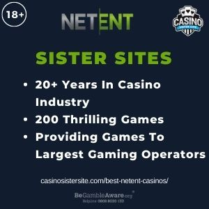 """Feature image for Best NetEnt Casinos article with text"""" 20+ Years in Casino Industry. 200 Thrilling Games. Providing Games To Largest Gaming Operators."""