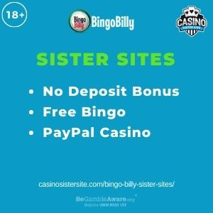 """Feature image for Bingo Billy Sister Sites article with text """"No Deposit Bonus. Free Bingo. PayPal Casino."""""""