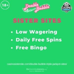 """Feature image for Double Bubble Triple Jackpot Sites article with text """"Low Wagering. Daily Free Spins. Free Bingo"""""""