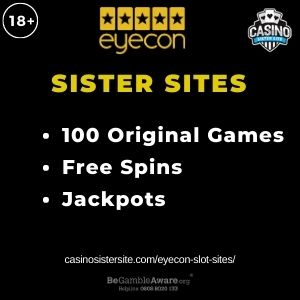 Feature image for Eyecon Slots Sites with text 100 Original Games. Free Spins. Jackpots.