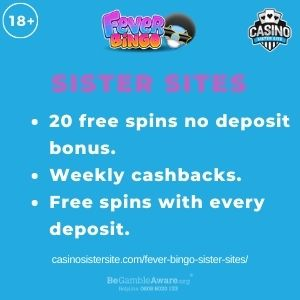 """Feature image for Fever Bingo Sister Sites With Text, """"20 Free Spins no deposit bonus. Weekly Cashbacks. Free Spins with every deposit."""""""