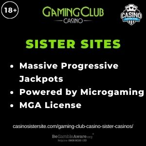 """Feature image for Gaming Club Casino Sister Casinos article with text """"Massive Progressive Jackpots. Powered by Mircogaming. MGA License."""""""